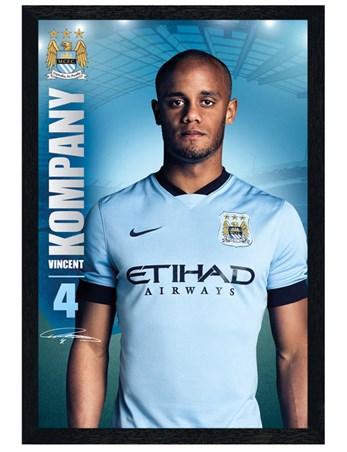 5ea83effc Black Wooden Framed Vincent Kompany - Manchester City Football Club