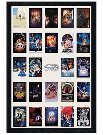 black wooden framed star wars collage film posters framed poster
