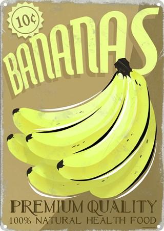 bananas premium quality health food tin sign popartuk