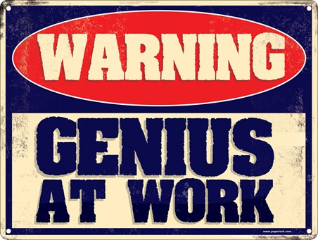 Warning Genius at Work Wall Hanging Tin Sign New