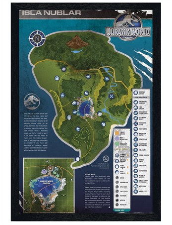 Black Wooden Framed Isla Nublar Map Jurassic World Framed Poster