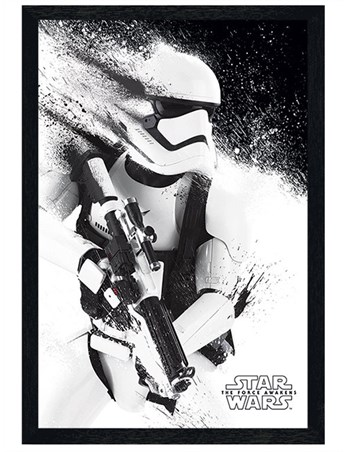 Black Wooden Framed Episode VII Stormtrooper Paint, Star Wars Poster ...