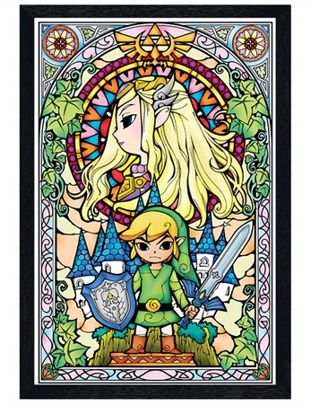 Black Wooden Framed Stained Glass, The Legend Of Zelda Poster - Buy ...