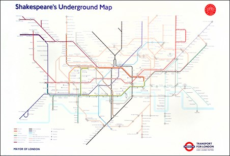 Transport For London Map.Shakespeare S Underground Map Transport For London Poster Popartuk