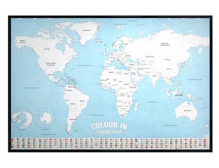 Gloss Black Framed Colour In Checklist World Map Poster Buy Online - World travel map online