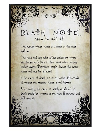 Gloss Black Framed Know How To Play The Game, Death Note Poster ...