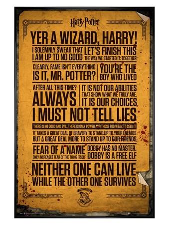 gloss black framed quotes harry potter poster buy online