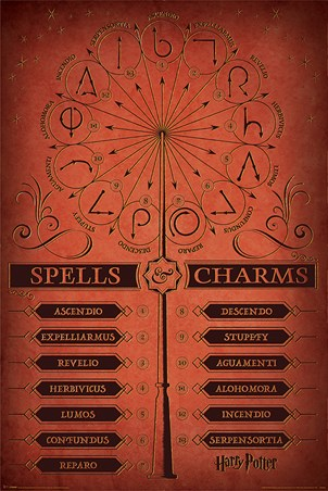 Spells Charms Harry Potter Poster Popartuk