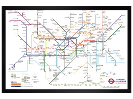 Transport For London Map.Black Wooden Framed Underground Map