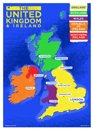 UK & Ireland Country Map, Colourful Countries Poster - Buy Online