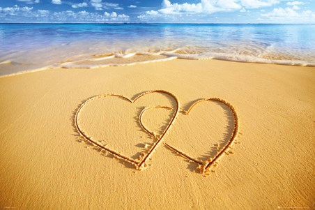 hearts in the sand beach love poster popartuk