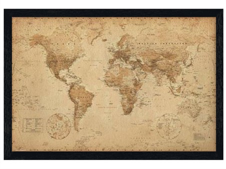 Black Wooden Framed Antique Style Map Geographical World Map Poster