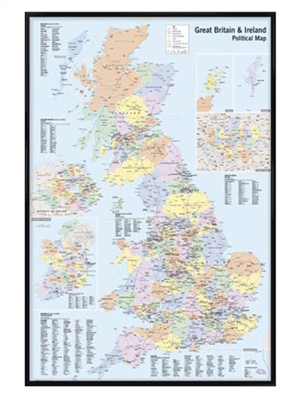 Map Of Ireland Cities And Towns.Gloss Black Framed Map Of The Uk