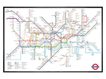 Gloss Black Framed Tube Map, London Undergound Framed Poster - PopArtUK