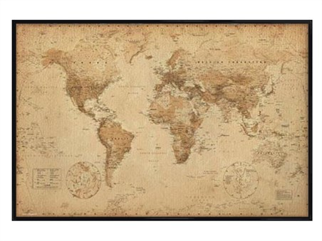 Gloss black framed antique style map world map poster buy online gloss black framed antique style map world map gumiabroncs Images