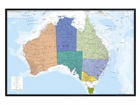 Gloss Black Framed The World\'s Smallest Continent, Map of Australia ...
