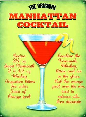 The Original Manhattan Cocktail Classic Recipe Tin Sign Buy Online