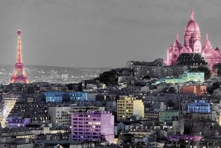 parisian landmarks in colour paris poster popartuk