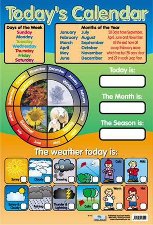 Today S Calendar Educational Children S Chart Poster Buy Online