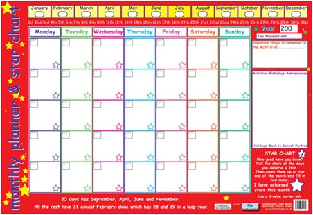 monthly planner and star chart children s planner poster buy online