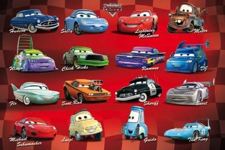 All Your Favourite Characters Cars The Movie Poster Popartuk