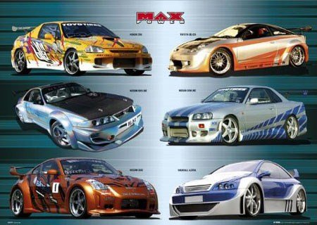 Collection Of Racecars Max Power Poster Popartuk