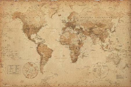 Antique Style Map Geographical World Map Poster Buy Online - Where to buy maps