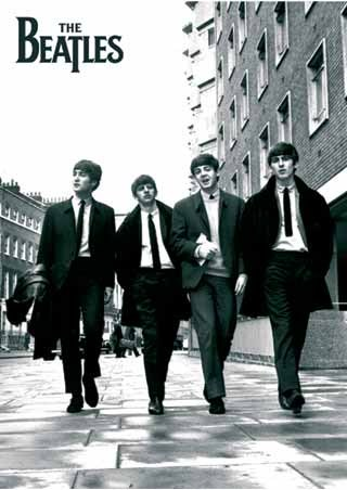 Beatles in london black and white photo the beatles