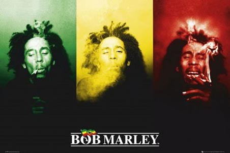 Ganja In Green Red And Gold Bob Marley Poster Popartuk