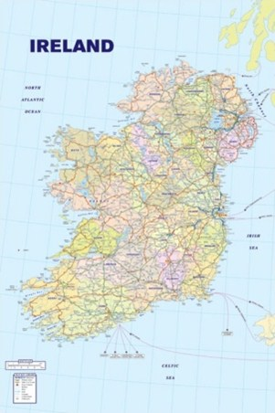 Republic Of Ireland And Northern Ireland Map.Map Of Ireland Republic Of Ireland Eire And Northern Ireland