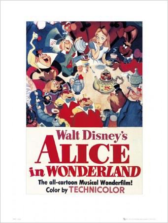 1951 Walt Disney/'s Alice In Wonderland /> Mad Hatter /> Tea /> Mini Poster//Print