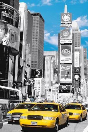 Yellow cabs in times square new york city poster 61cm x 91 5cm 24 x 36
